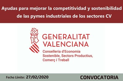 Ayudas a la competitividad y sostenibilidad de las pymes industriales de los sectores CV