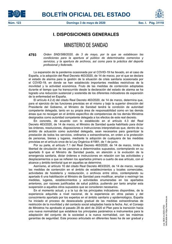Orden SND/388/2020 del BOE por el que se publican las condiciones de reapertura de comercios