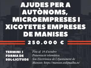 Ayudas a autónomos, microempresas y pequeñas empresas de Manises