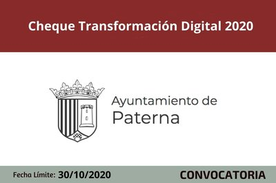 Cheque Transformación Digital COVID19 para ayudar a autónomos y pymes de Paterna