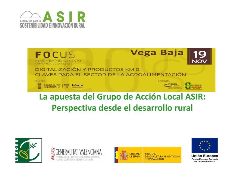 La apuesta del Grupo de Acción Local ASIR: Perspectiva desde el desarrollo rural (Portada)