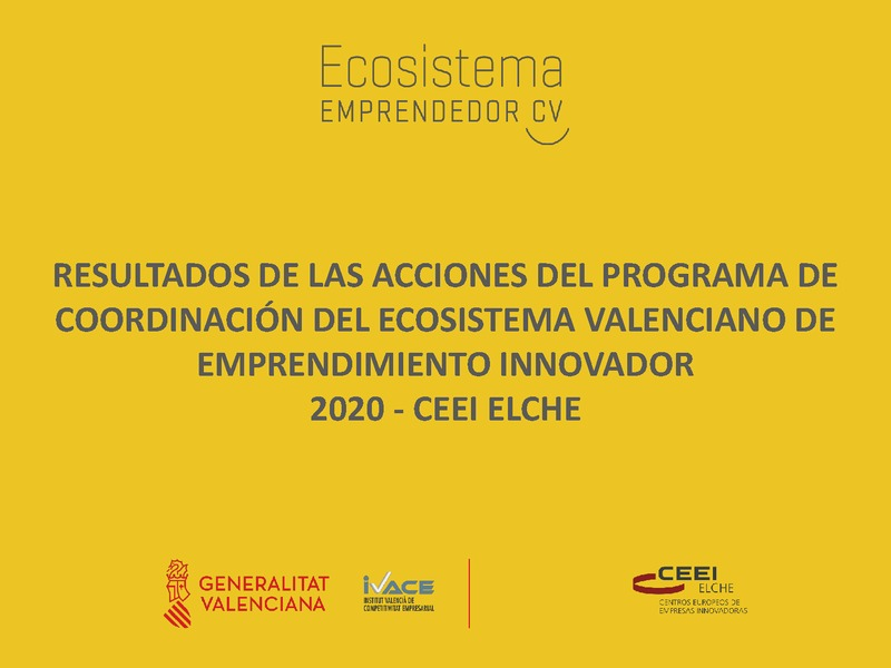 Resumen de resultados de las acciones Plan de actuación 20 CEEI Elche-IVACE