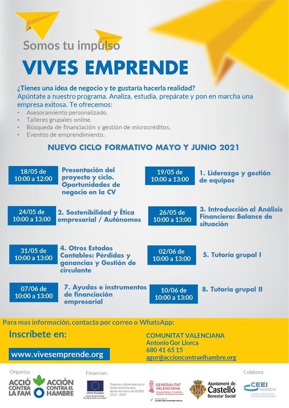 Cartel Vives Emprende 2021 con sesiones